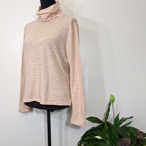 Madewell Peach/Ivory Stripe Knit Turtle Mock Top